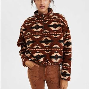 AE Fuzzy Sherpa Quarter Zip Sweatshirt